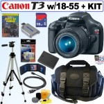 Canon EOS Rebel T3 Digital SLR 3 LENS Bundle, $449! (list $850)