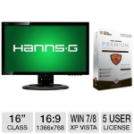 Hot! HannsG 16″ Wide 1366×768 LED Monitor + Total Defense Premium Internet Security – $19.99!