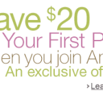 $20 Off First Package of Diapers + 20% Off + Get 3 Months Of Amazon Mom FREE!