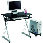 LexMod Sleek Black Office Computer Desk with Rollout Tray – Only $30!
