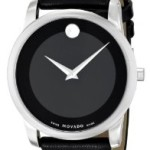 Movado Museum Black Dial Black Leather Strap Mens Watch For Just $261.77!