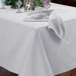 Benson Mills Prego Waffleweave Fabric Tablecloth, White, 60-Inch-by-104-Inch For $16.18