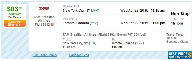 New York Jfk Toronto Canada For Just 62 One Way Or 83