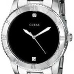 GUESS Men's Silver-Tone Diamond-Accented Watch with Black Dial For $77 w/Free Shipping!