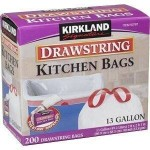 Kirkland Signature Drawstring Kitchen Trash Bags – 13 Gallon – 200 Count For $13.49!