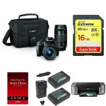 Canon EOS Rebel SL1 Digital DSLR Camera + Lens Bundle + PIMXA Pro 100 Printer + Photo Paper + Memory Card + Bag and Extra Battery Just $349! (AR)