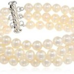 Sterling Silver Three-Row A Quality White Freshwater Cultured Pearl Bracelet Only $32.99!
