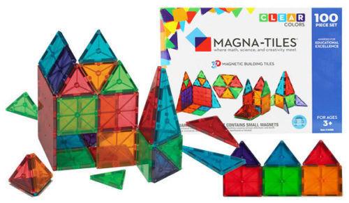 Magna Tiles Original 100 Piece Set Clear Color 3d Magnetic