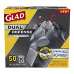 Glad Dual Defense Drawstring Large Trash Bags, 30 Gallon, 50 Count For Just $12.73