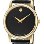 Movado Museum Black Dial Black Leather Mens Watch For Just $189.99 Shipped