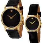 Movado Museum Black Dial Gold Black Leather Men's or Women's Watch For Just $174.99 w/ Free Shipping!