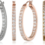 Platinum or Gold Plated Sterling Silver and Swarovski Zirconia Inside-Out Hoop Earrings Only $29.99