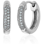 Diamond Pave Hoop Earrings in 10K White, Yellow or Rose Gold or Sterling Silver For Just $43 – $143 w/ Free Shipping!