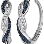 Sterling Silver Montana and White Swarovski Crystal Twisted Hoop Earrings Only $26.49!