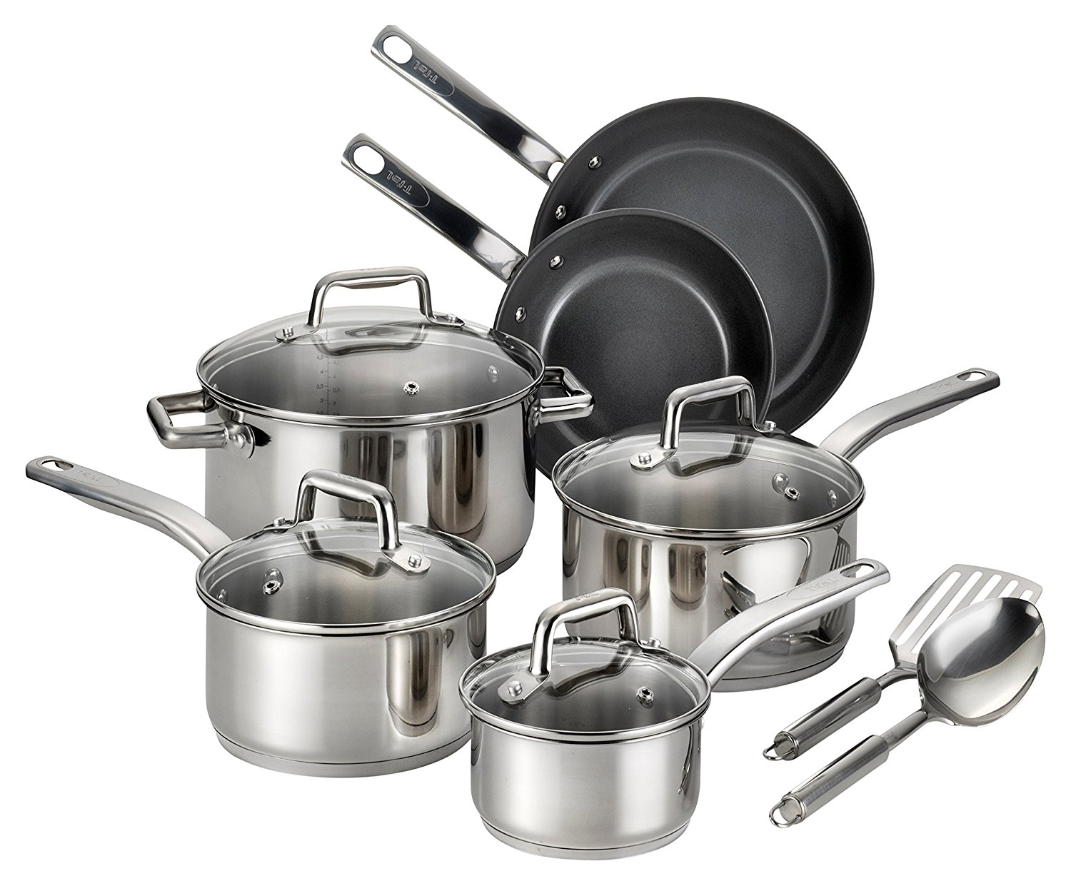 T Fal Precision Stainless Steel Nonstick Scratch Resistant Dishwasher Safe Oven Safe 12 Piece
