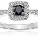 Today Only: Sterling Silver Black and White Diamond Cushion Ring Only $66.94 w/ Free Shipping!