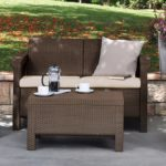 Keter Corfu Love Seat All Weather Outdoor Patio Garden Furniture w/ Cushions For Only $88 Shipped!