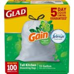 100 Count Glad OdorShield Tall Kitchen Drawstring Trash Bags Gain Original with Febreze Freshness Just $8.79 – $10.39 + Free Shipping!