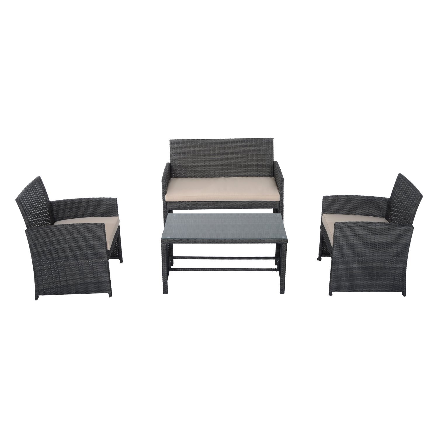 outsunny 4piece cushioned outdoor rattan wicker chair and loveseat furniture set u2013 link