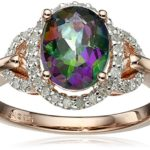 Sterling Silver with Pink Gold Plating Mystic Fire Topaz and Diamond Ring Only $28.98 After $90 Price Drop!