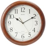 Seiko Wall Clock Quiet Sweep Second Hand Dark Brown Solid Oak Case Just $38.50 Shipped