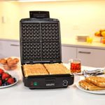 KRUPS Adjustable Temperature Belgian Waffle Maker with Removable Plates For Just $26.73 w/ Free Shipping