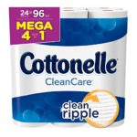 Cottonelle Clean Care Toilet Paper, Bath Tissue, 24 Mega Toilet Paper Rolls For Just $15.92 – $18.37 + Free Shipping