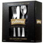CUTLEREX Heavy Duty Plastic Silverware Cutlery – Silver – (120 Pack) For $9.99